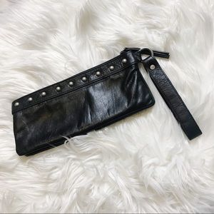 Kenneth Cole Reaction Black Leather Wristlet